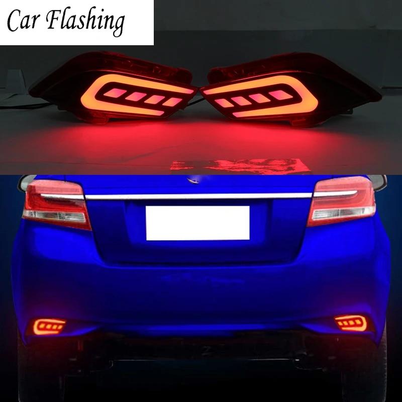 Car Flashing 2 Pcs For Toyota Vios 2017 2018 Led Reflector Lamp Rear Fog Lamp Bumper Light Brake Light Car Light Assembly Aliexpress
