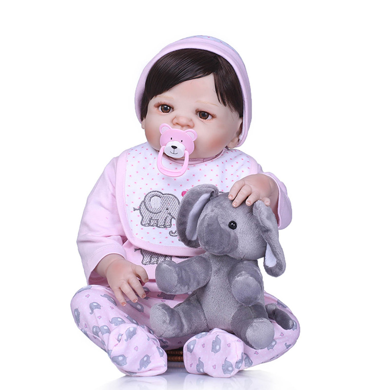 56CM Reborn Doll Full Body Silicone 3D Lifelike Jointed Newborn Doll Playmate Gift YH-17 56cm baby reborn doll full body silicone 3d lifelike jointed newborn doll playmate gift bm88