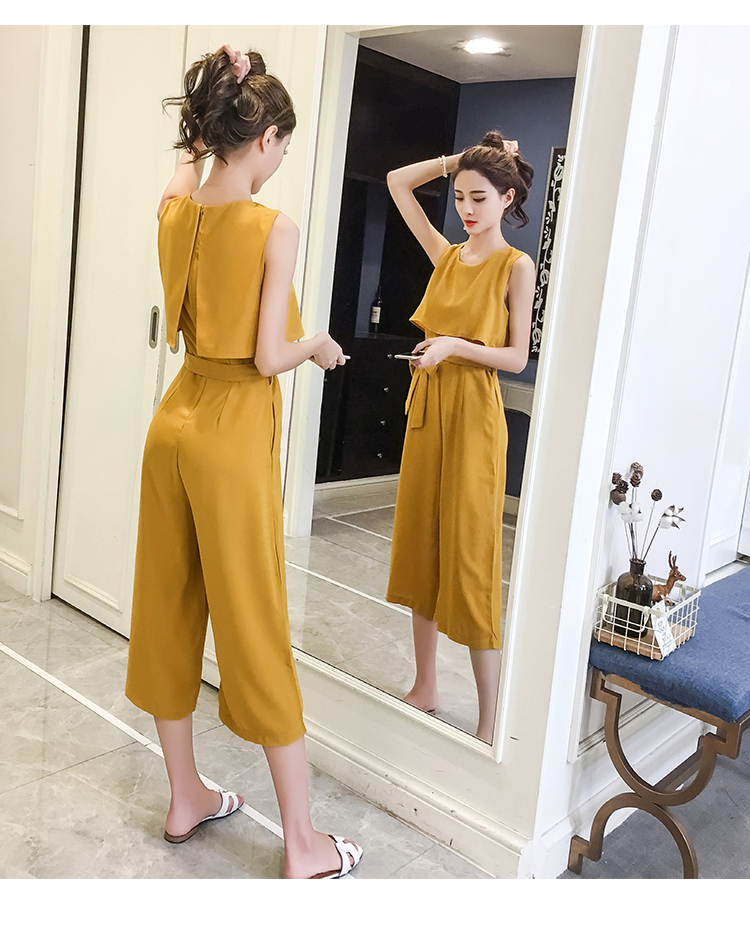 Korean Style 2019 New Women Jumpsuits High Waist Wide-leg Woman Bodysuit Rompers Womens Jumpsuit Combinaison Femme 13