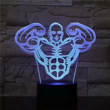 Hercules LED Night Light USB Touch Sensor Decorative Lamp 7 colors RGB Men Fitness Nightlight muscle 3d Table Bedroom Decor