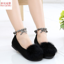 Girl's shoes fashion princess single shoes girls sweet leisure children's shoes autumn and spring rabbit hair Flat shoes kids