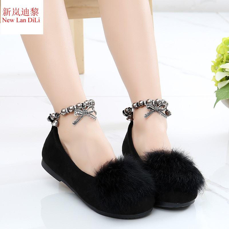New Lan DiLi fashion princess single shoes girls sweet leisure childrens shoes autumn and spring rabbit hair ball Flat shoes ...