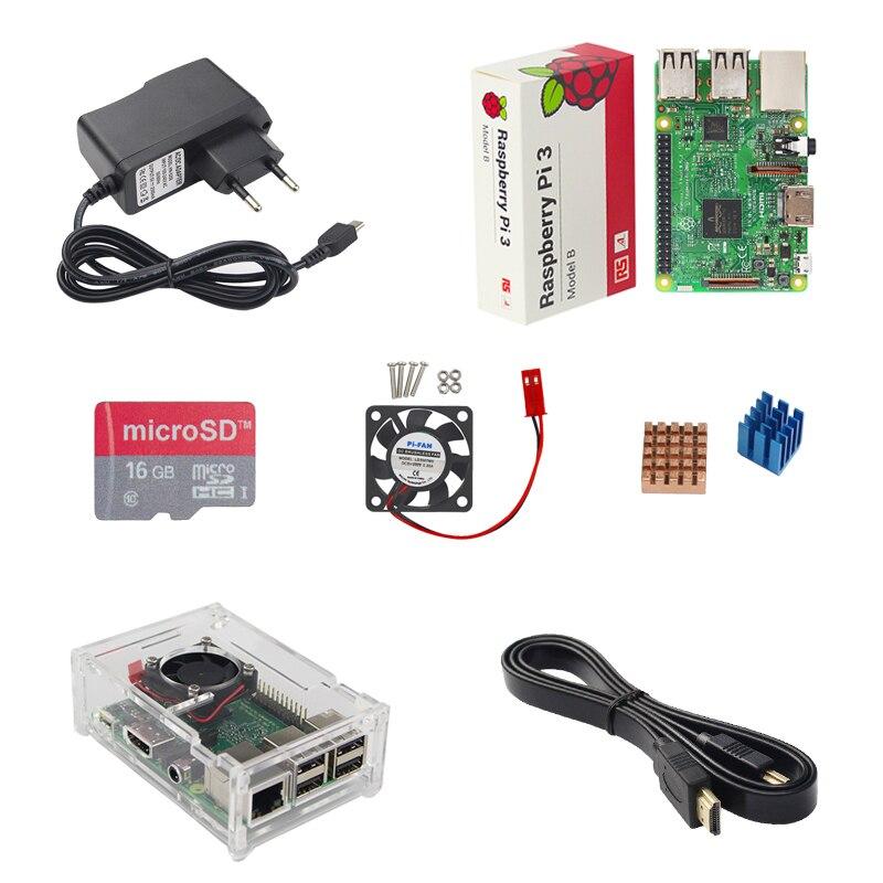 Raspberry Pi 3 Model B+16G SD Card+Cooling Fan+1.5M HDMI Cable+Acrylic Case+Heat Sink+5V 2.5A Power Charger for RPI 3/2 B+ 3pcs adhesive raspberry pi heatsink cooler pure aluminum heat sink set kit radiator for cooling raspberry pi 2 b