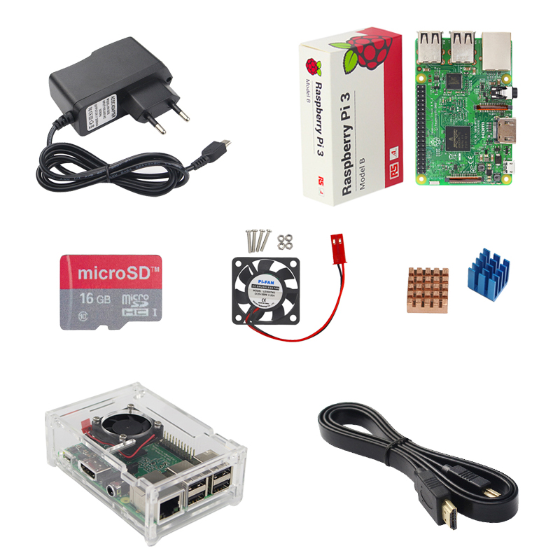 Raspberry Pi 3 Model B+ Plus Starter kit Raspberry Pi 3 Model B+16G Card+HDMI Cable+Acrylic Case+CPU Fan+Heat Sink+Power Charger