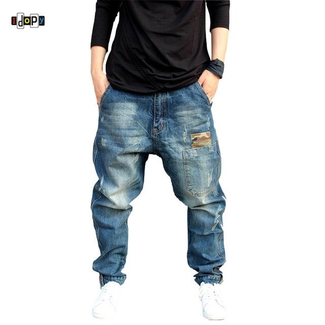 Pantalones de mezclilla holgados rayados Vintage talla grande estilo  callejero Hip Hop para hombre c0baee8814a