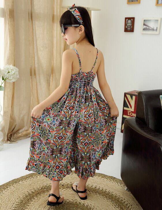 2018 Sale Girls Summer Jumpsuit Clothes Fashion Floral Print Clothing Children Beach Romper Kids V-neck Sleeveless Maxi Pants