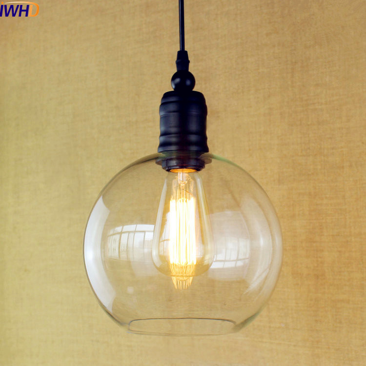 IWHD Glass Ball Style Loft Lamp Vintage Industrial Lighting Fixtures Edison LED Pendant Light Lamparas Colgantes Lampen iwhd american retro vintage pendant lights fixtures edison loft industrial pendant lighting hanglamp lampen wrount iron