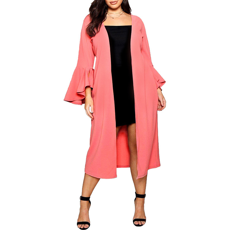 5xl 6xl Plus Size Women   Trench   Fashion Ruffle Sleeve Open Stitch Autumn Winter Long Coat Casual Elegant Pink White Chiffon Coats