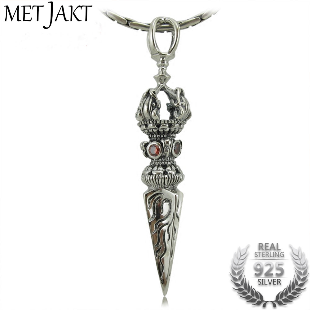 MetJakt Buddhism Silver Vajra Pendant with Garnet & 925 Sterling Silver Snake Chain Necklace Suit Men's Amulet Jewelry metjakt punk buddhism 925 sterling silver peace pendant necklace and snake chain unisex exorcise evil spirits jewelry