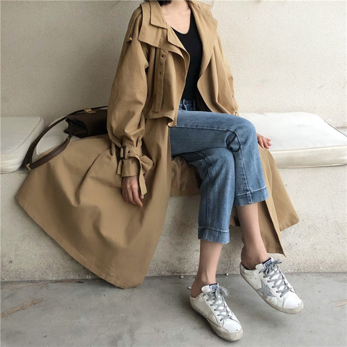 British Classic Design Fashion designer Ladies Khaki Double Breasted   Trench   Coat Woman Long oversized Windbreaker With Belt