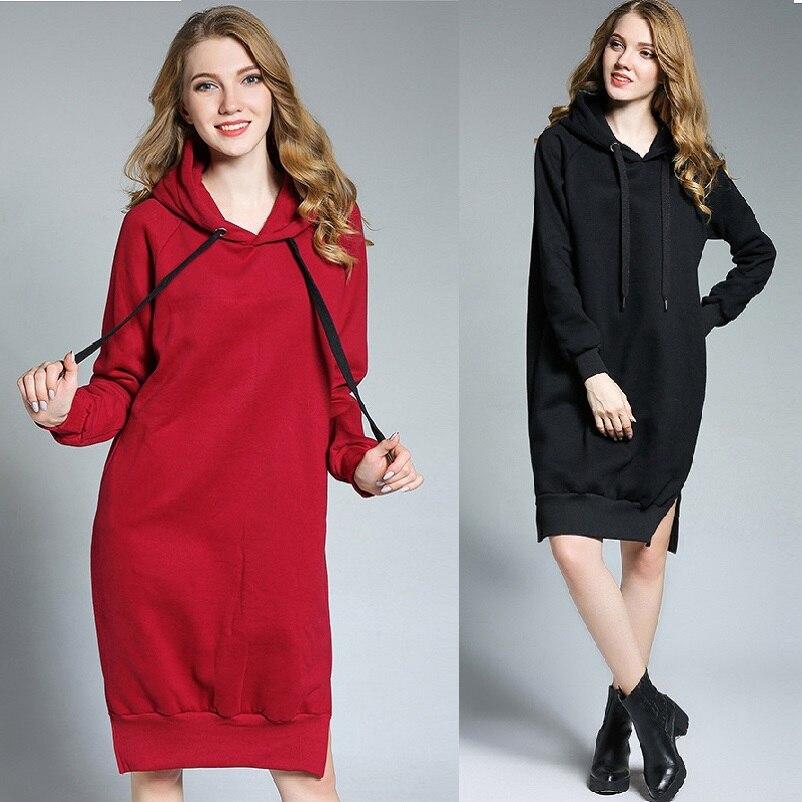 New2017 hiver chaud polaire long sweat femme mignon split fin sweat à capuche robe grande taille lâche fit tuniques XL-XXXXL6661