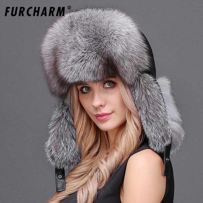 dcddd6a539f Natural Fox Fur Winter Hats for Women 100% Real Fur Lei Feng Caps ...