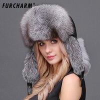 Natural Fox Fur Winter Hats For Women 100 Real Fur Lei Feng Caps Warm Russian Bomber