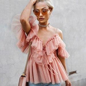 أنيقة كشكش حزام شبكة الصيف بلوزة قميص المرأة مثير V الرقبة قبالة الكتف عطلة بلوزة أعلى الشارع الشهير peplum قمم