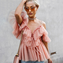 Sexy deep v neck backless vintage women summer blouse Elegant ruffle off shoulde