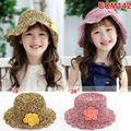 Wholesale new children's cap korea fashion children summer straw knitted flower sun hat sport cap headsize 52cm