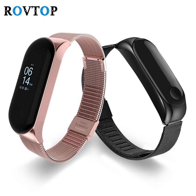 Rovtop Smart Wrist Band Bracelet Strap for Xiaomi Mi Band 3 4 MiBand 4 3 Strap Metal Bracelet Stainless Steel Wrist Strap Z2(China)