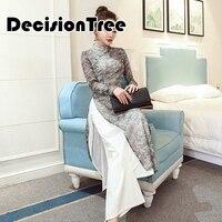 2019 summer folk style vietnam robes chiffon aodai graceful dress stand collar elegant traditional clothing floral aodai