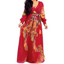 Casual Print Women Dress Bohemian Ladies Flare Long Sleeves Floor-length Maxi Dress Sexy Deep V-neck Femme Chiffon Vintage Dress