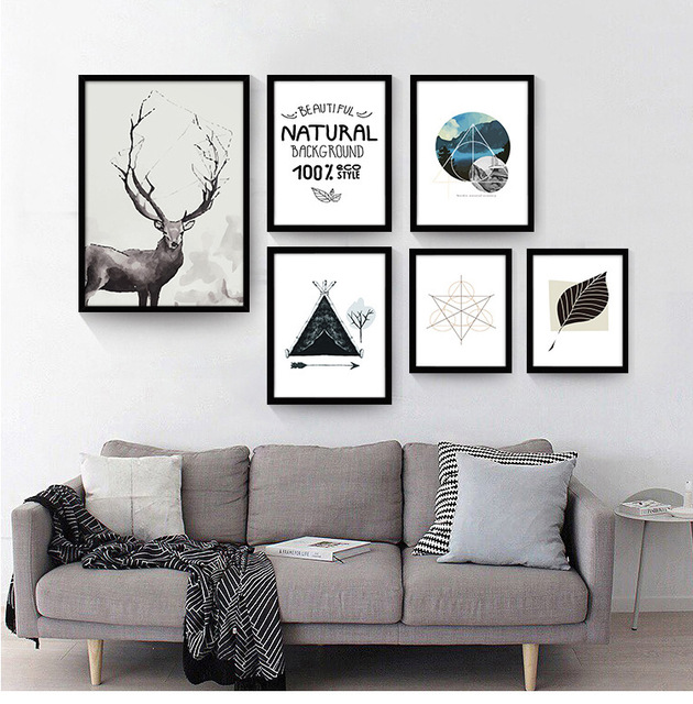 Nordic Deer Posters And Prints Wall Art Canvas Painting Wall ...