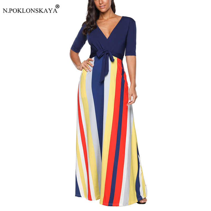 N.POKLONSKAYA 2018 Autumn Dress Women Vintage Maxi Dress Colorful Striped Sexy V Neck Long Dresses Female Slim A-line Dresses