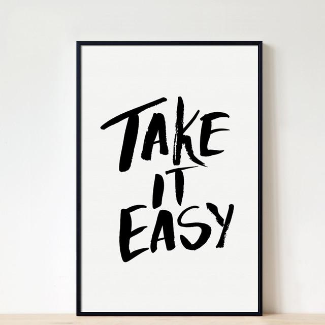 Nordic Simplicidade Take It Easy Frases Em Inglês Preto E Branco