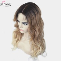 StrongBeauty Women's Synthetic Wig Ombre Hair Blonde Highlights Part Lace Front Wigs Long Curly