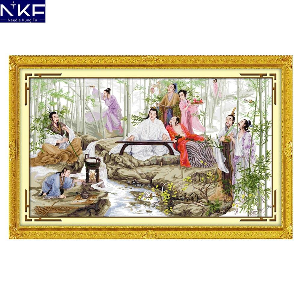NKF regardant les Kits de point de croix en bambou imprimant pour 14CT ou 11CT compte de tissu tissu Kit de point de croix broderie couture