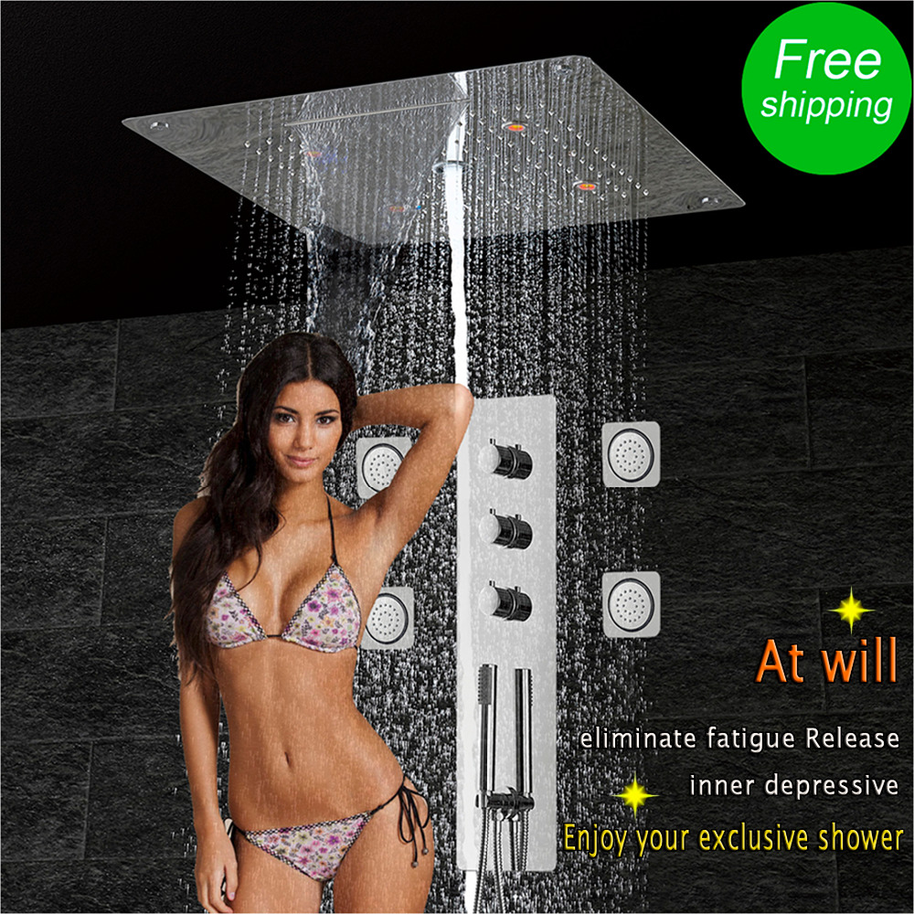 Massage Jets Shower Panel Wall Mounted Thermostatic Mixing Valve Shower Faucet Stainless Waterfall Rain Bubble LED Shower Head wall mounted two handle auto thermostatic control shower mixer thermostatic faucet shower taps chrome finish