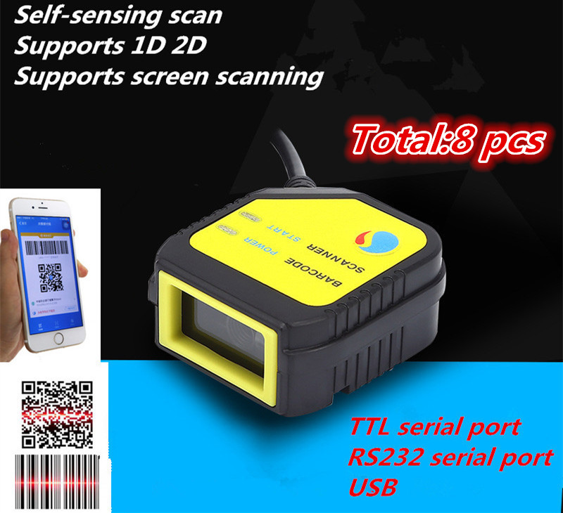 Total 8pcs Mini New wired Scan Module QR Scan Head Module Fixed Scan Engine USB/Serial TTLsupport scanning screen1D 2D code|Scanners| |  - title=