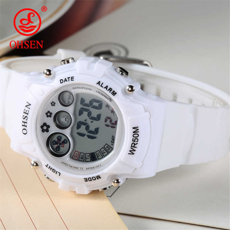OHSEN Outdoor Sport Kids Watches Boy Girl Digital Clock Alarm Weekday Stopwatch Watch Luminous Wrist Watch Hourly Chime relogio