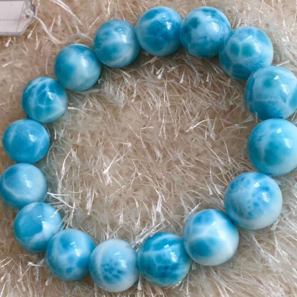 13mm Natural Larimar Stone Round Beads Bracelet Women Men Party Accessories Gift Powerful Stretch Crystal Bracelet Jewelry13mm Natural Larimar Stone Round Beads Bracelet Women Men Party Accessories Gift Powerful Stretch Crystal Bracelet Jewelry