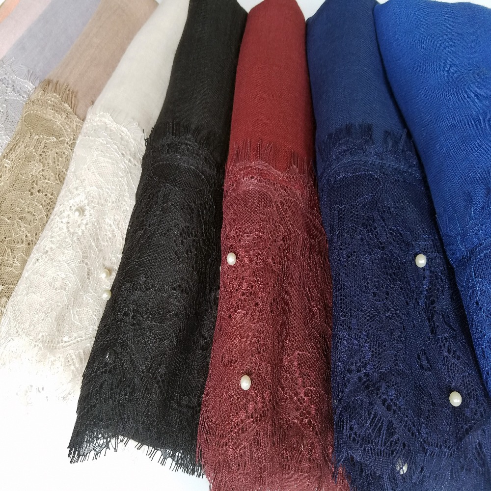 plain lace beads cotton solid scarf with pearls embroidery border shawls hijab pearls muslim long scarves 30 color 190*100cm