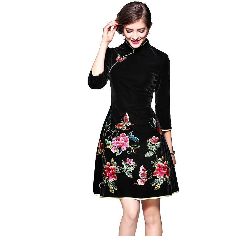 Marque Designer noir femmes broder fleur velours Qipao dames Slim a-ligne robe chinoise style national cheongsam robe de soirée