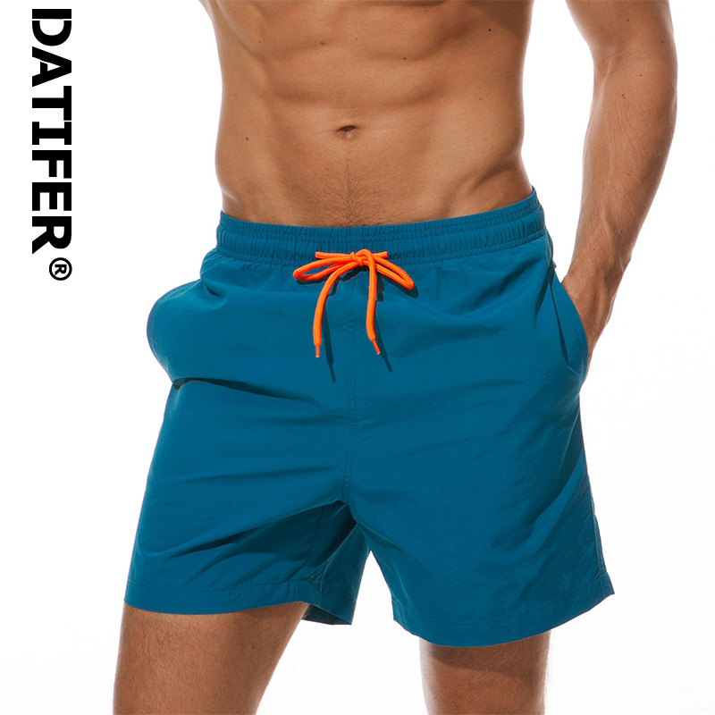 Brand Board Shorts Men Breathable Sport Swimming Shorts Solid Color Elastic Waist Beach Shorts Summer Swim