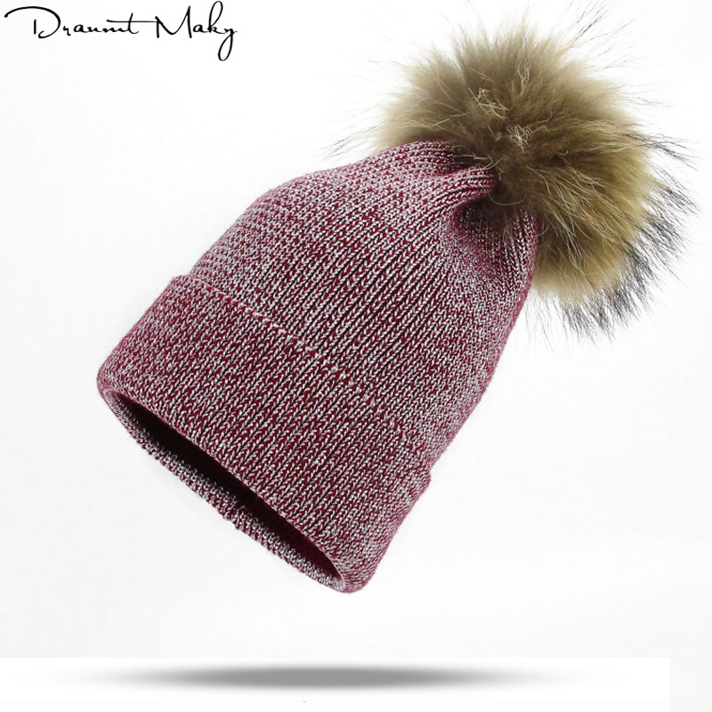 Silver wire style Women's Winter Warm Hats Men Knitted Hat Brand Real Fur Pompom Thick Female Cap Winter Hat   Skullies     Beanies