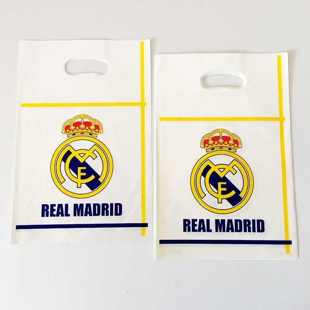 New 10pcs Real Madrid Football Team Plastic Loot Bags Birthday Party