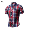 ZIYU Brand 2017 Summer Dress Shirt Men's Short Sleeve Lapel Hot Sell Plaid Men Casual Shirts Slim Fit chemise homme