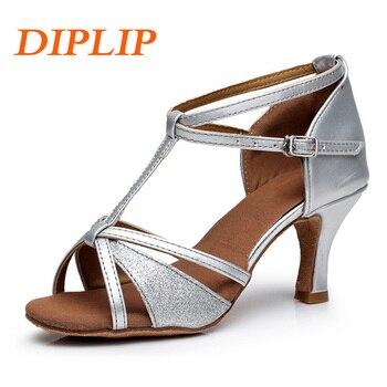 718d956e DIPLIP Latina Salsa zapatos de baile para las mujeres las niñas Tango salón  de baile de tacón alto suave zapatos de baile/5/7 cm baile de salón  sandalias