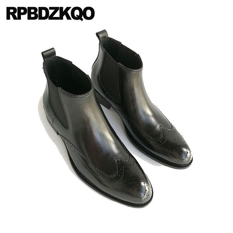 Chaussures en cuir véritable Oxford hommes bout pointu robe bottes cheville mariage Wingtip Chelsea Brogue noir haut bottillons Chunky - 6