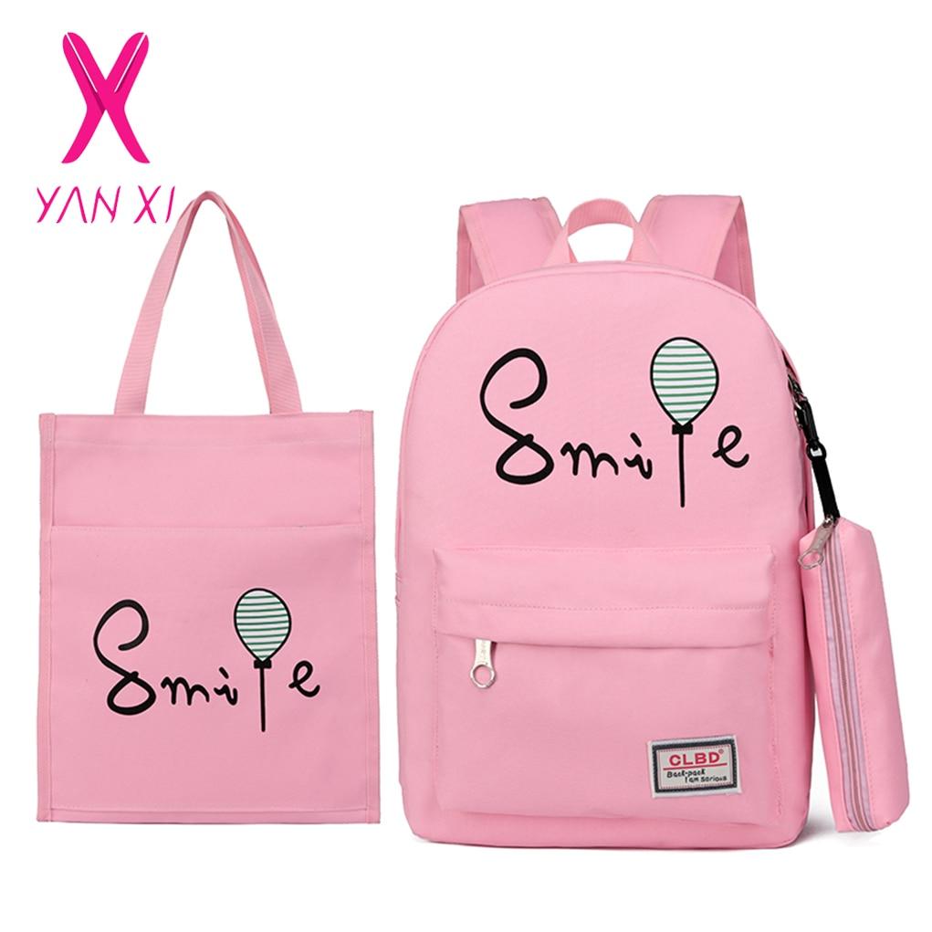 YANXI 3 Pcs/Set Teenagers School Backpack Solid Boy Schoolbag For Teenager Girl Student Book Bag Girls Satchel Female Schoolbag