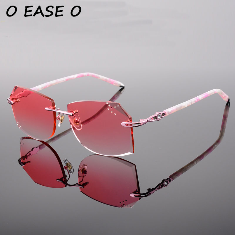 Diamond Trimming Rimless Female Sun glasses Women High Quality Alloy and Acetate