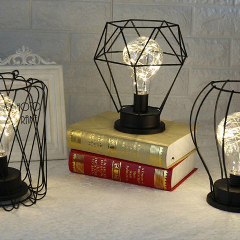 Litake Creative Style rétro lampe de Table fil de cuivre lanterne entonnoir diamant modélisation lampe de chevet Maison Table décor Maison