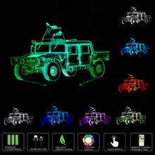 Новинка 3D колесница Автомобиль USB LED лампа 3D Прокат свет в ночь Цвет Сменные Lamparas подарок для детей 3D иллюзия ночник