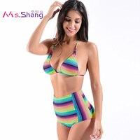 Wysoka Talia Bikini Kobiety Piękne Kolorowe Rainbow Paski Strój Kąpielowy na Plaży Kobiet Stroje Kąpielowe Push Up Biqiunis Brazylijski Kostiumy kąpielowe