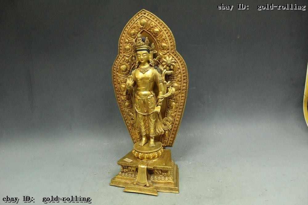 """Montre de mariage Décoration En Laiton De Cuivre vintage home decor 16 """"Tibet Folk Violet Bronze 24 K Or fleur Mains Kwan-Yin Statue"""