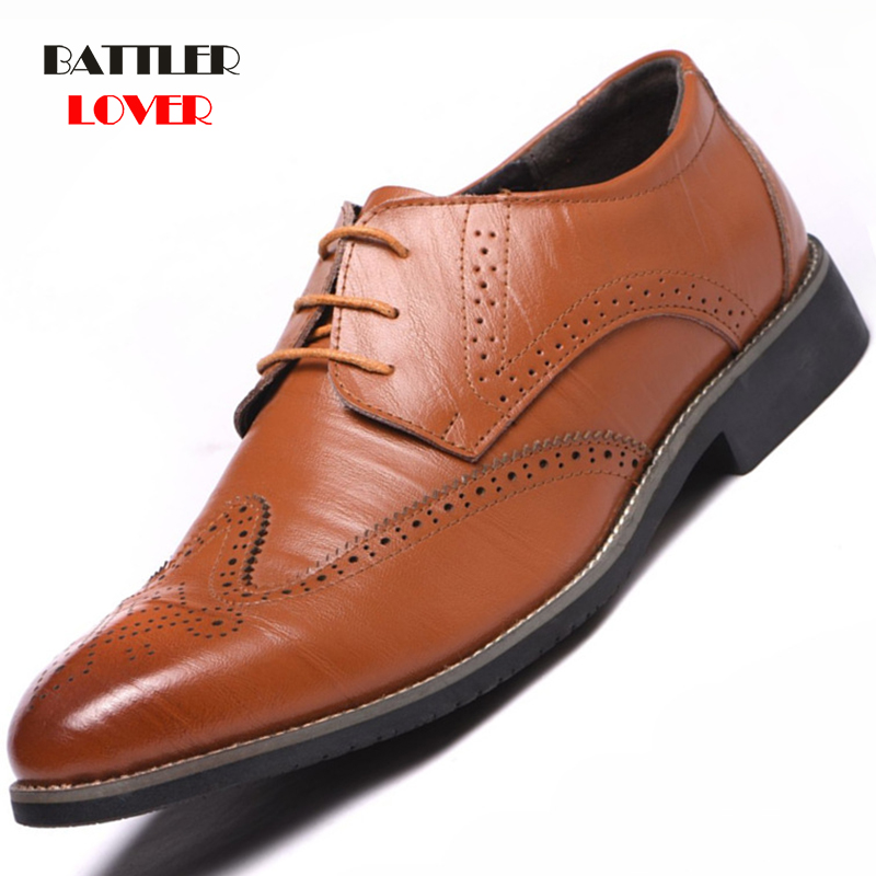 New 2019 Luxury Leather Brogue Mens Flats Shoes Casual British Style Men Oxfords Fashion Brand Dress Shoes For Men Office Shoe