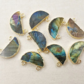 WT-P1050 Fashion Half Moon Stone Pendant with double loops Design Jewelry Natural Labradorite with gold plated Wholesale