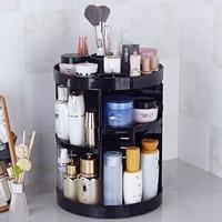 360 Degree Rotate Makeup Organizer Plastic Storage Box/ Cosmetic Make Up Case/ Jewelry Box/ Lipstick Brush Holder Storage Boxes