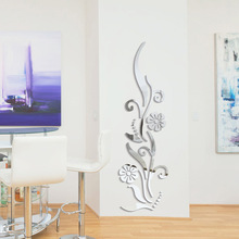 Creative DIY flower poster decorative rambling vine acrylic mirror wall stickers home decor 3d room decoration decals